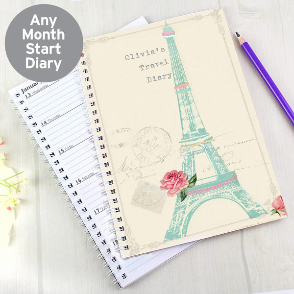 Personalised Vintage Pastel Travel A5 Diary