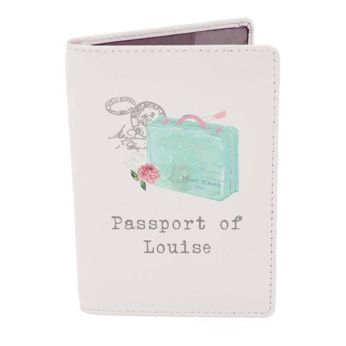 Personalised Vintage Pastel Travel Cream Passport Holder