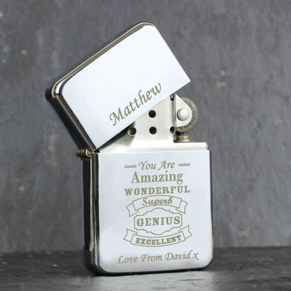 Personalised Vintage Typography Lighter