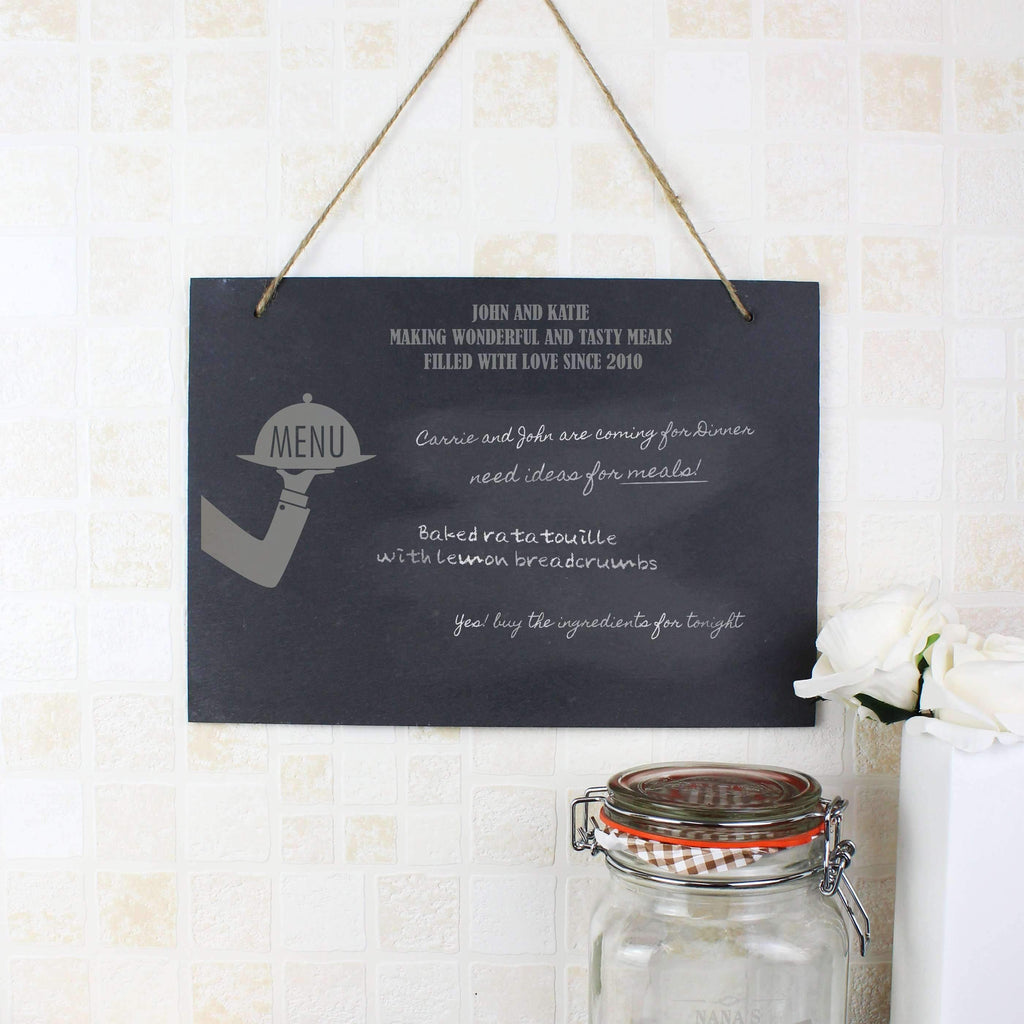 Personalised Waiter Hanging Slate Sign
