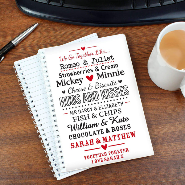 Personalised We Go Together Like.... A5 Notebook