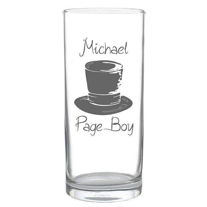 Personalised Wedding Top Hat Hi Ball Glass