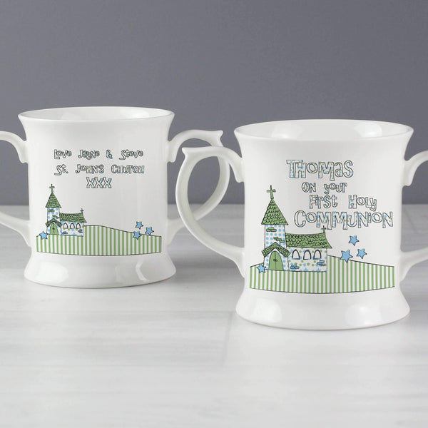 Personalised Whimsical Church 1st Holy Communion Loving Mug