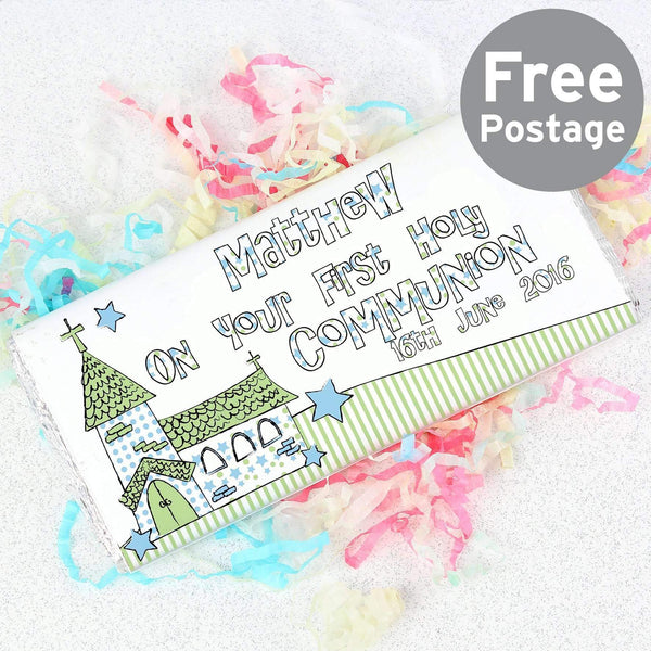 Personalised Whimsical Church Blue 1st Holy Communion Milk Chocolate Bar