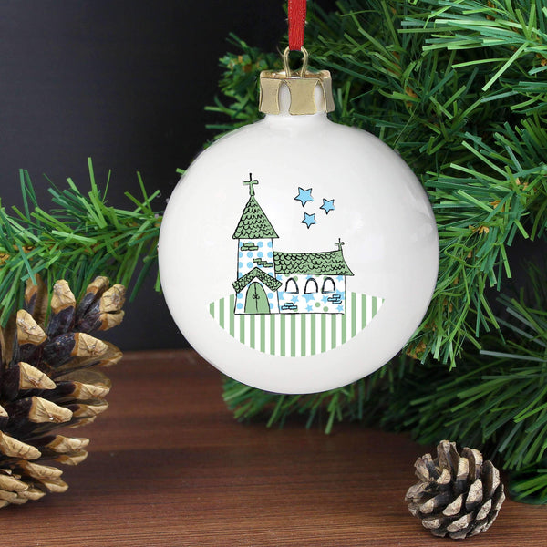 Personalised Whimsical Church Blue Bauble
