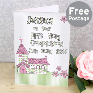 Personalised Whimsical Church Pink 1st Holy Communion Card