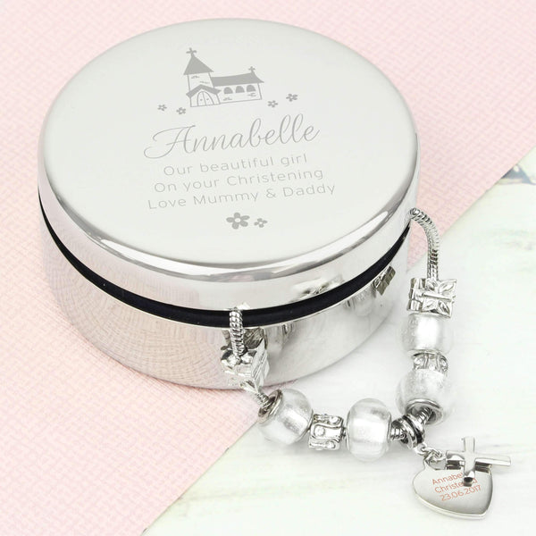 Personalised Whimsical Church Round Trinket Box & Ice White Cross Charm Bracelet