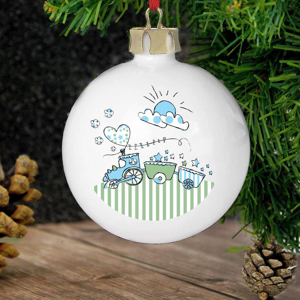 Personalised Whimsical Train Bauble