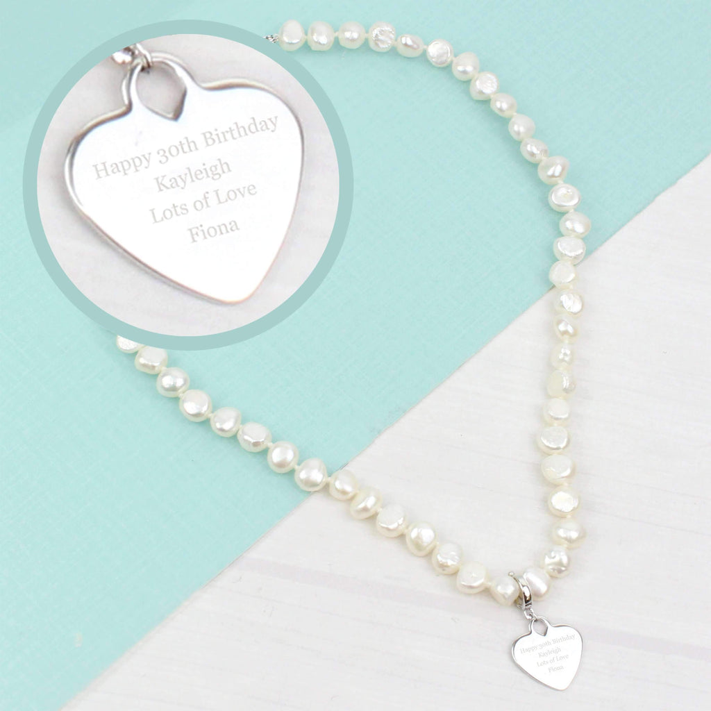Personalised White Freshwater Pearl Message Necklace Memento