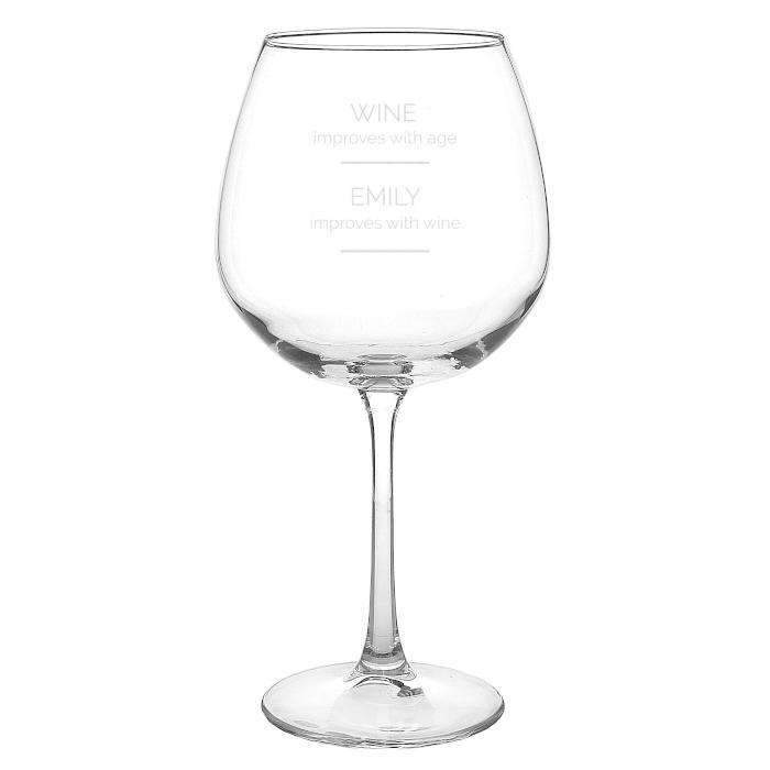 Personalised 'Wine Improves with Age' Bottle of Wine Glass Memento