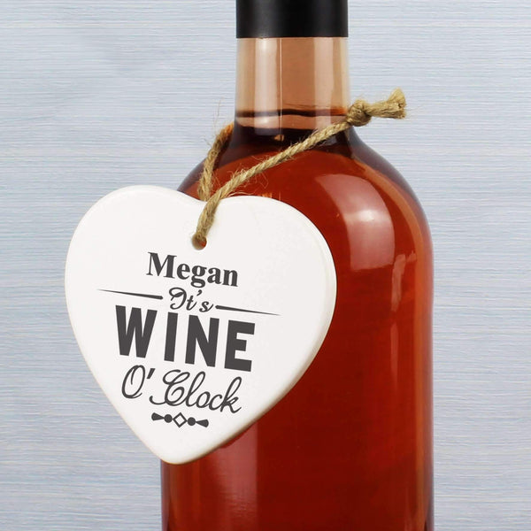 Personalised Wine O'Clock Ceramic Heart