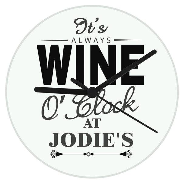 Personalised Wine O'Clock Clock