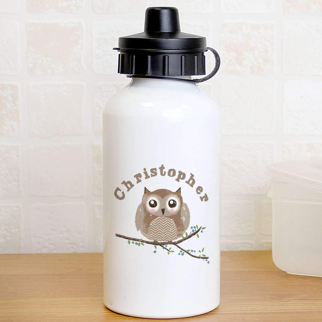 Personalised Woodland Owl Drinks Bottle