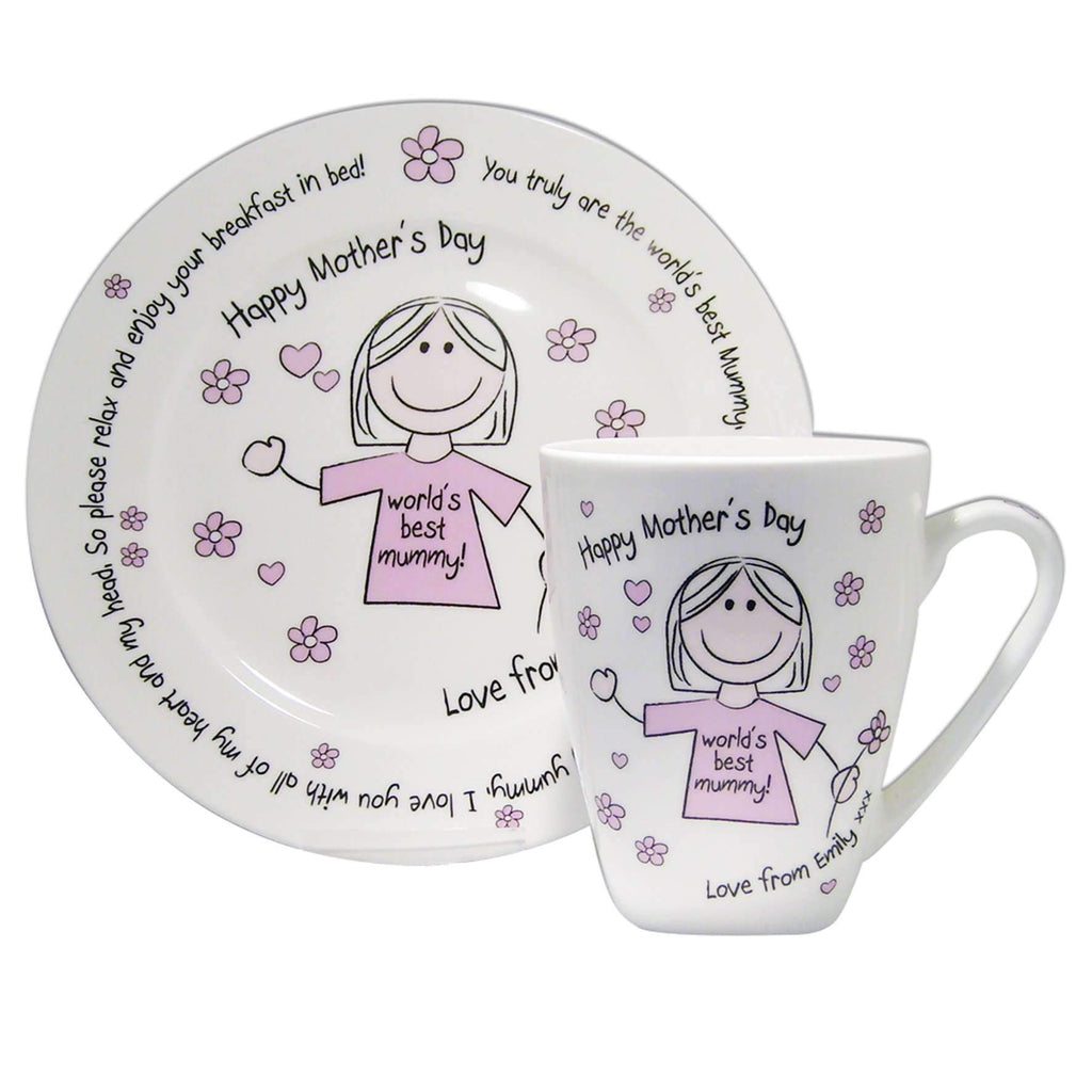 Personalised Worlds Best Mum T-shirt Breakfast in Bed Set Memento