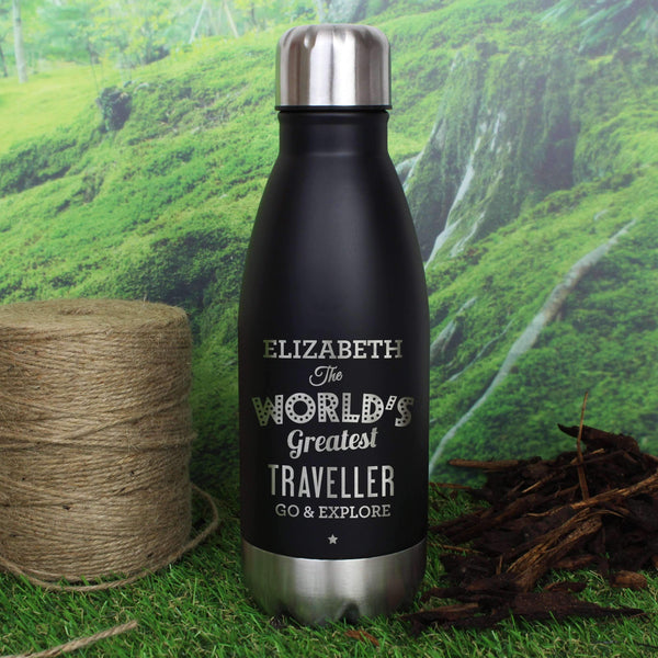 Personalised Worlds Greatest Black Travel Bottle