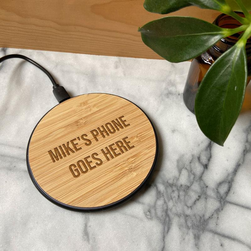 Personalised Round Bamboo Wireless Phone Charger 10W Charging Pad Always Personal