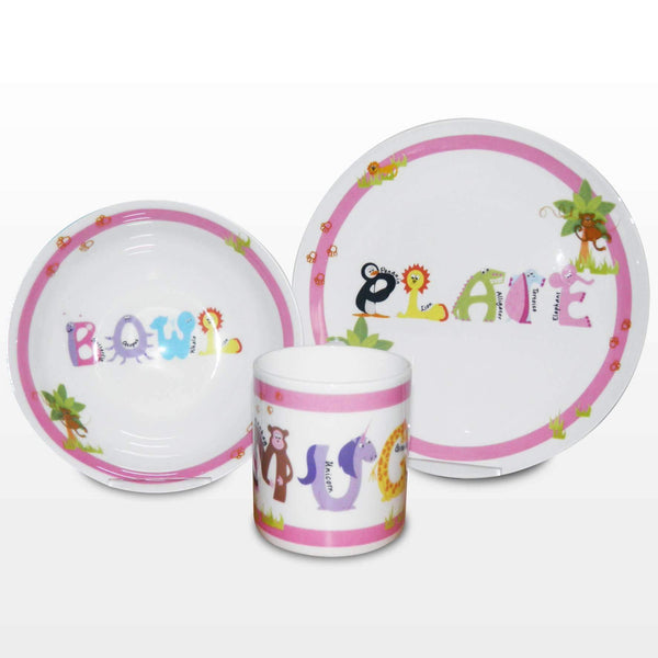 Pink Animal Alphabet Breakfast Set
