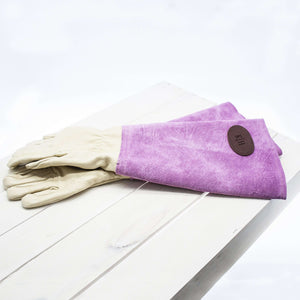 Pink Leather Gardening Gloves