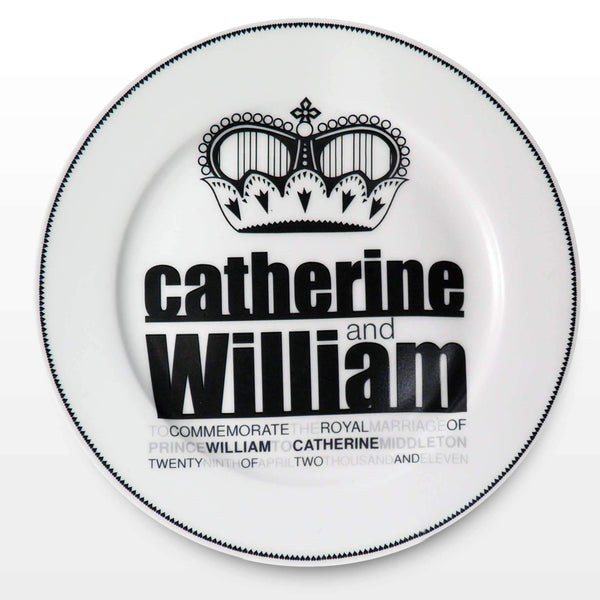 "Royal Wedding Black Crown 8"""" Plate"