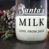 Santa's Glass Milk Bottle
