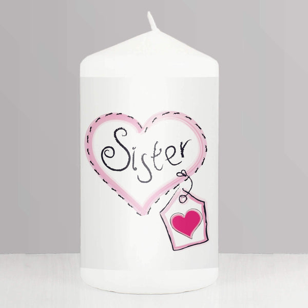 Sister Heart Stitch Candle