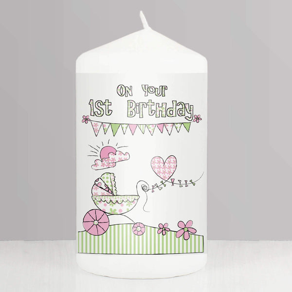 Whimsical Pram 1st Birthday Candle