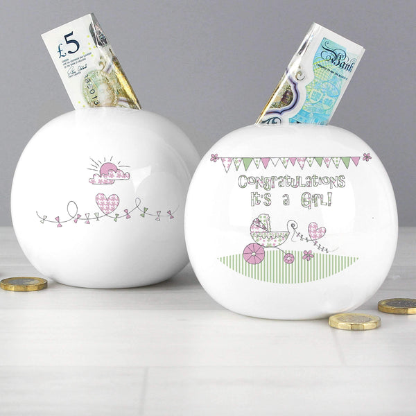 Whimsical Pram Its a Girl Money Box