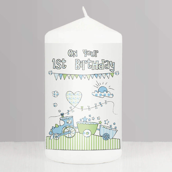 Whimsical Train 1st Birthday Candle