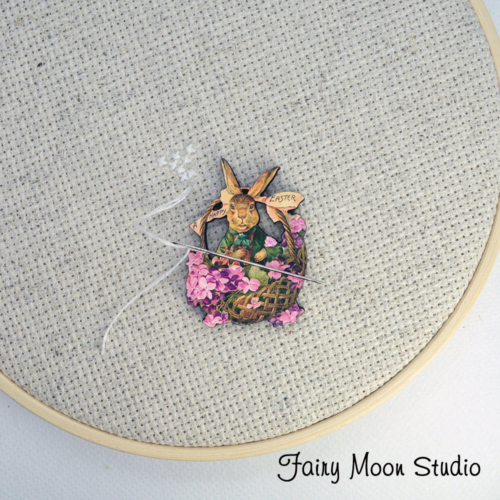 Easter Bunny Flower Basket Needle Minder