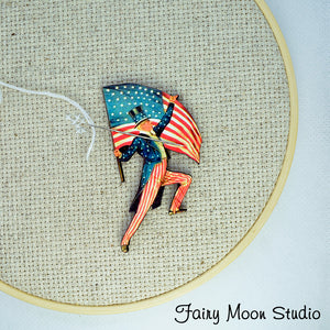 Uncle Sam with Flag Needle Minder