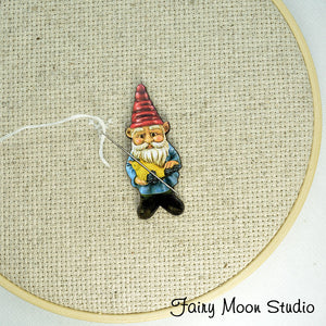 Garden Gnome with Bird Needle Minder