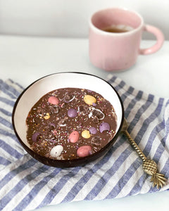 Chocolate Shell Mini Eggs Overnight Oats