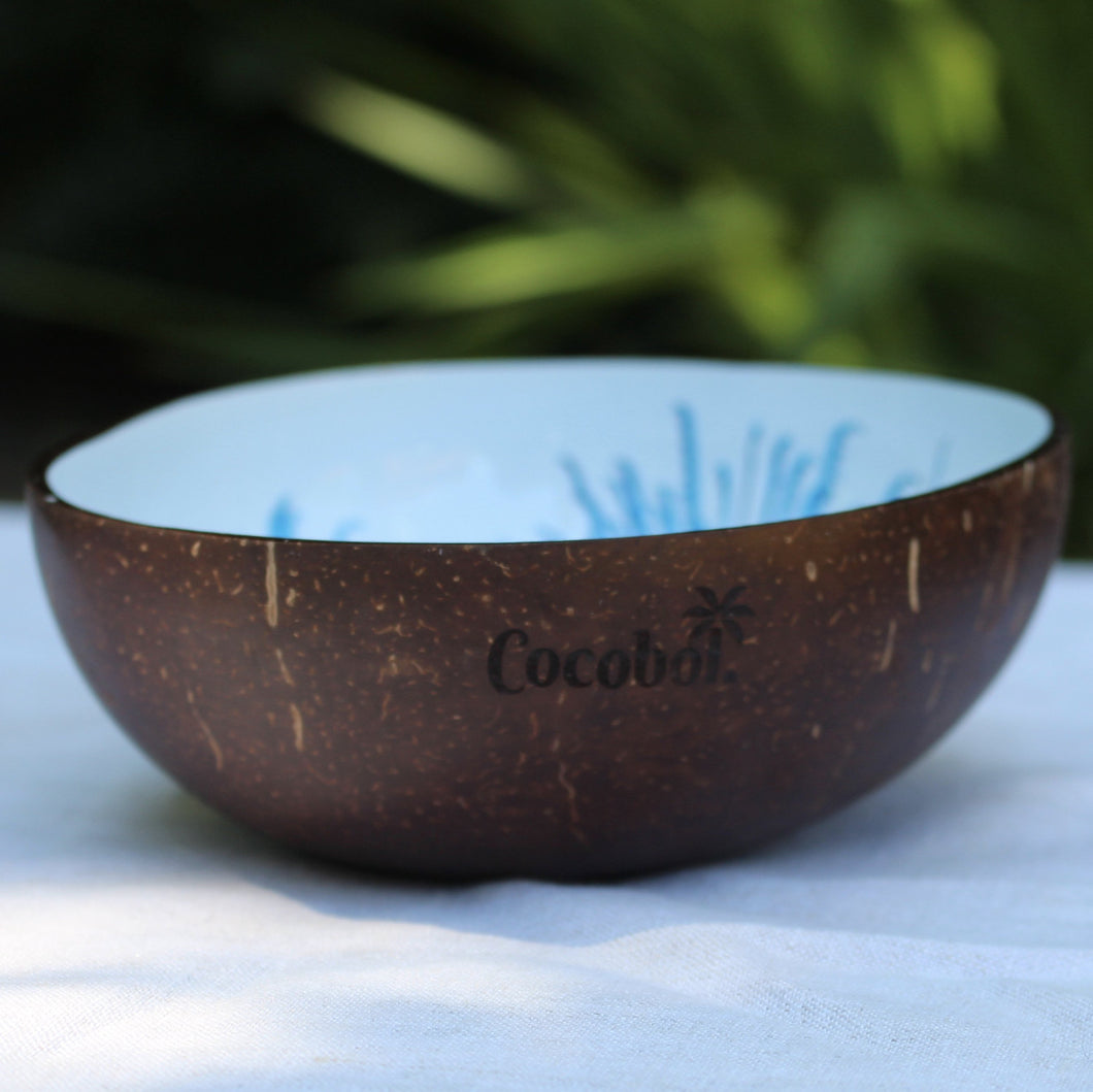 Blue Flower Lacquer Coconut Bowl