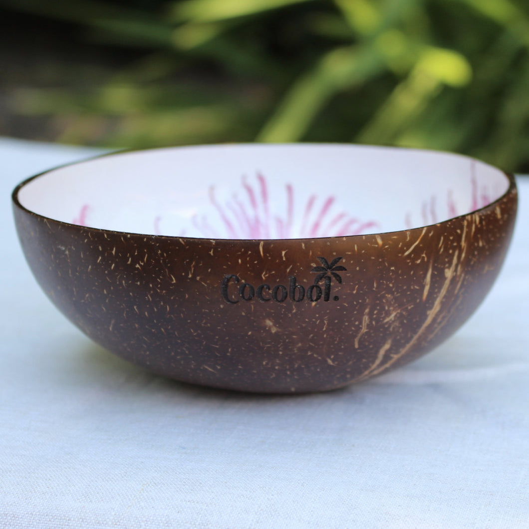 Pink Flower Lacquer Coconut Bowl