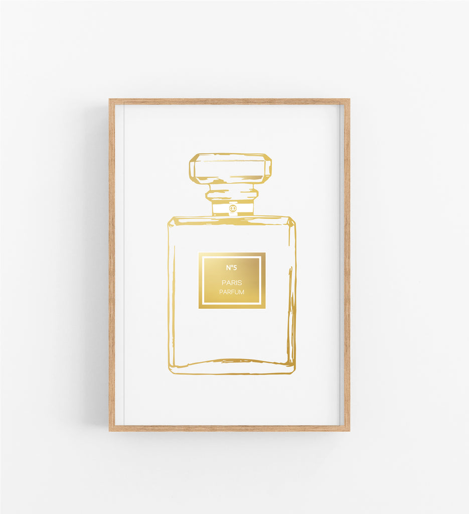 GOLD OUTLINE NO.5 PERFUME BOTTLE