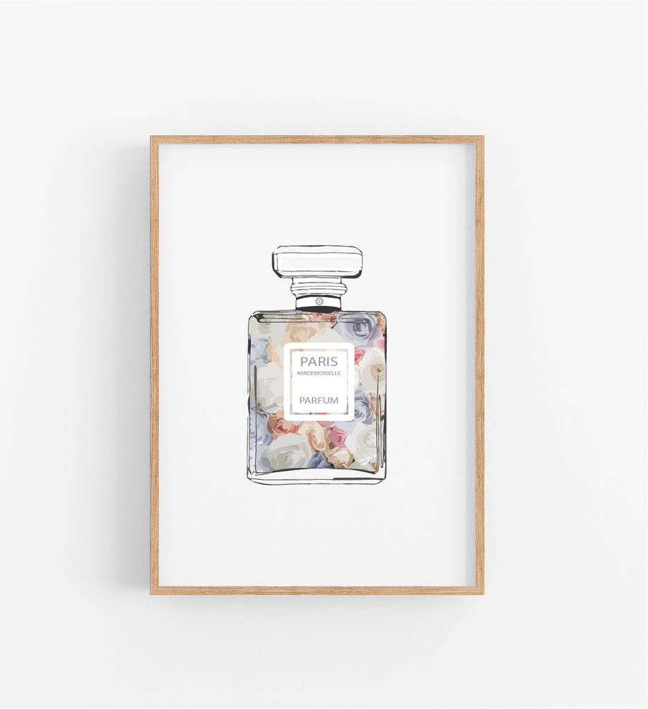 PERFUME BOTTLE, ROSE FLOWERS