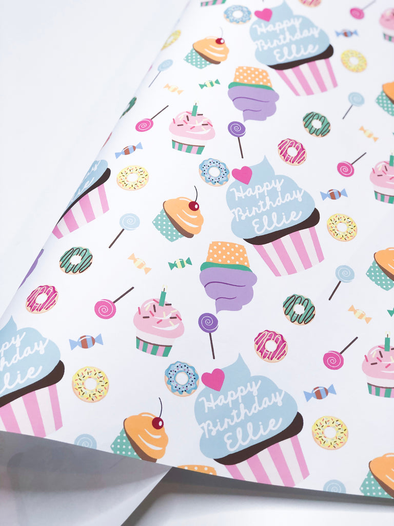 BIRTHDAY CUPCAKE WRAPPING PAPER