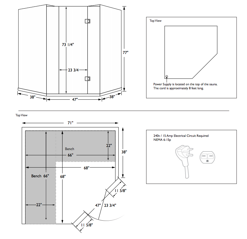 Sanctuary Corner Sauna Dimensions