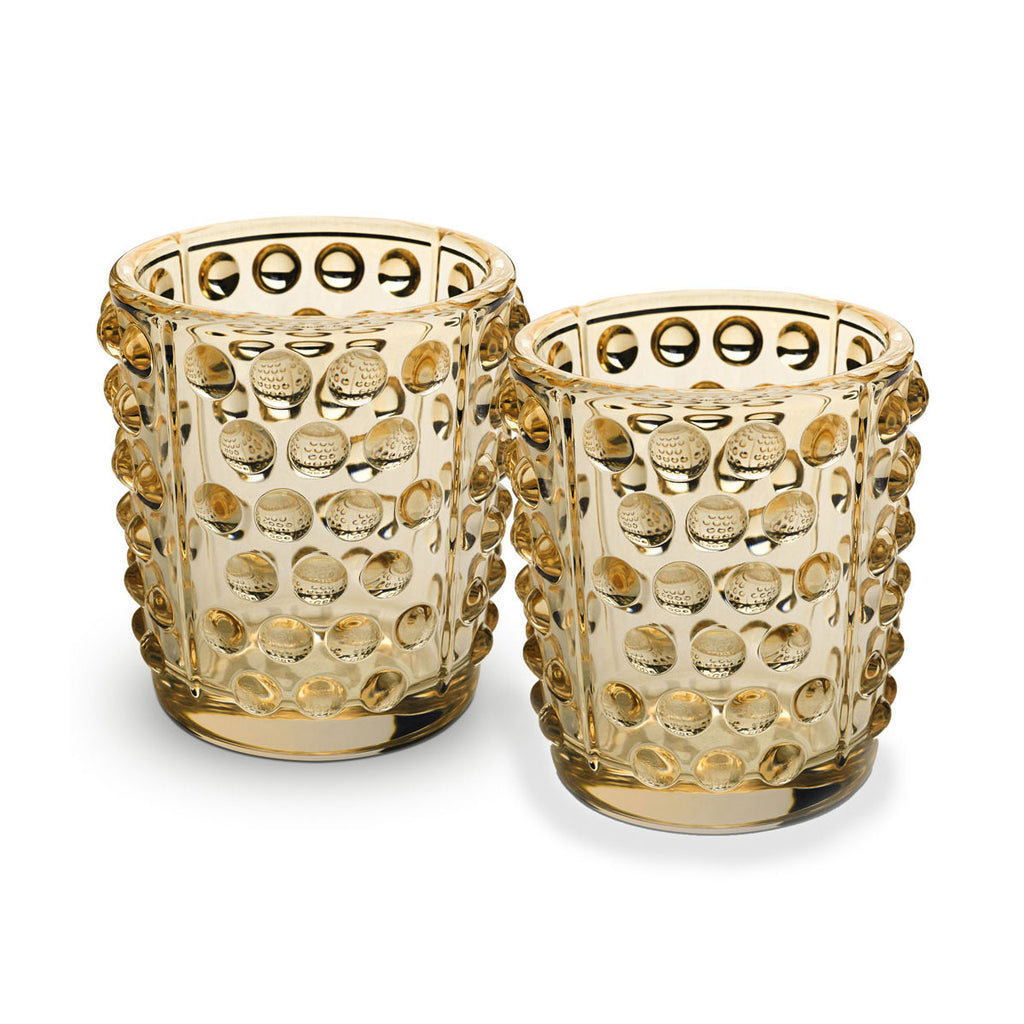 LALIQUE MOSSI VOTIVE, SET OF 2, GOLD LUSTRE