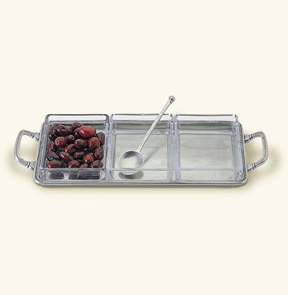 MATCH PEWTER CRUDITE 3 SECTION TRAY