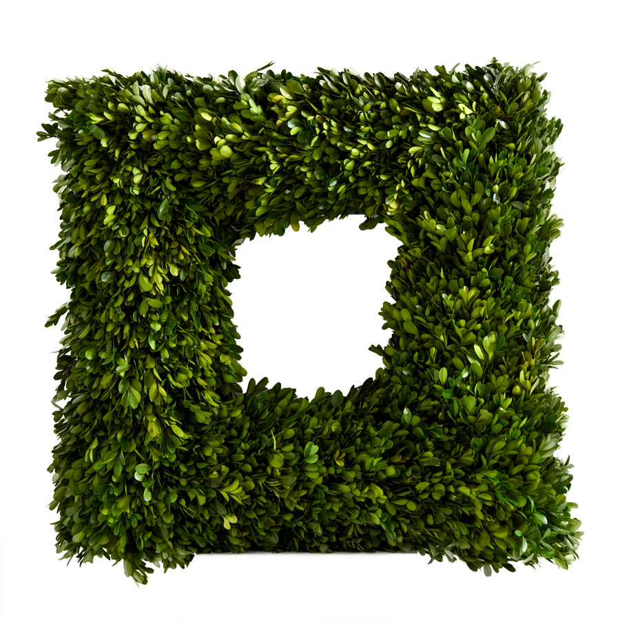 "K&K INTERIORS 22"" PRESERVED SQUARE BOXWOOD WREATH"