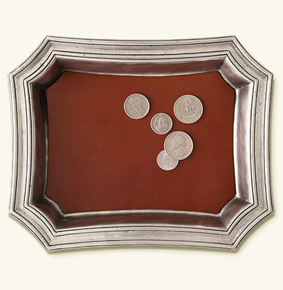 MATCH PEWTER CHANGE TRAY W/LEATHER INSERT