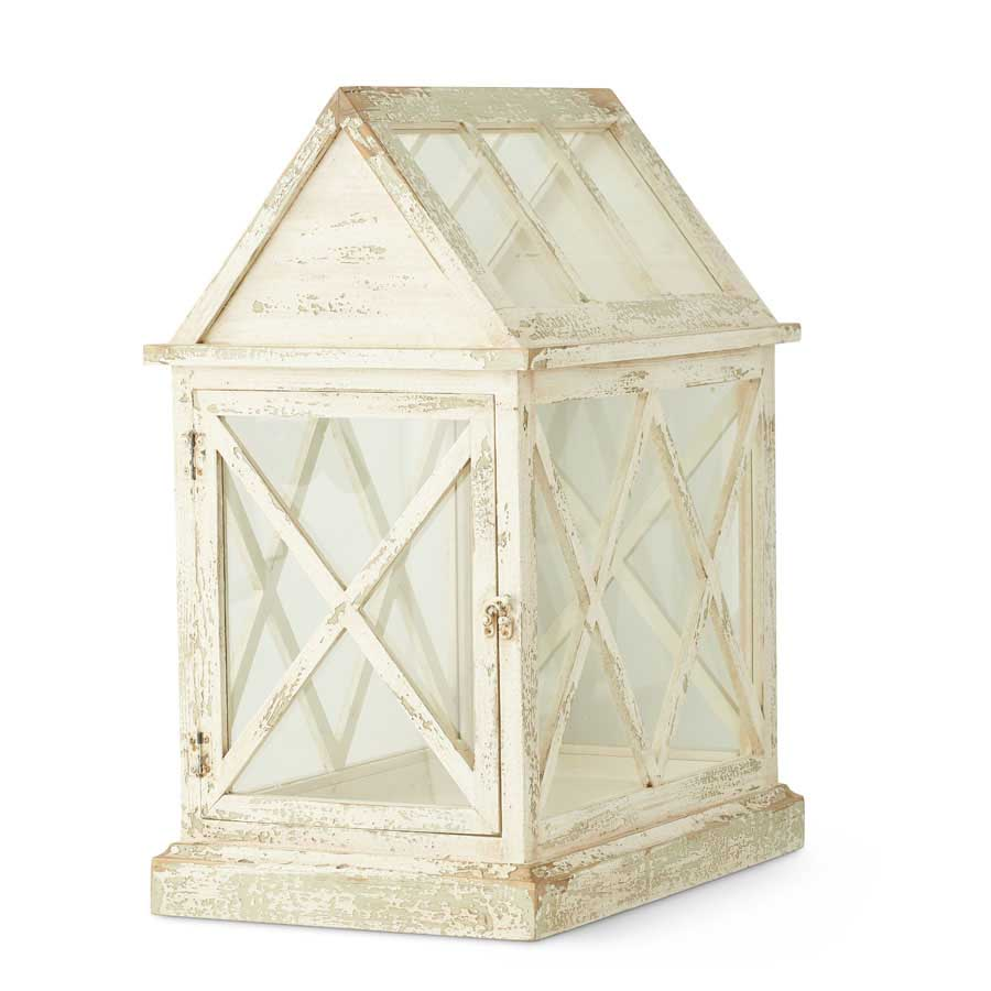 "K&K INTERIORS 26"" WHITE WASHED WOOD & GLASS GARDEN TERRARIUM"