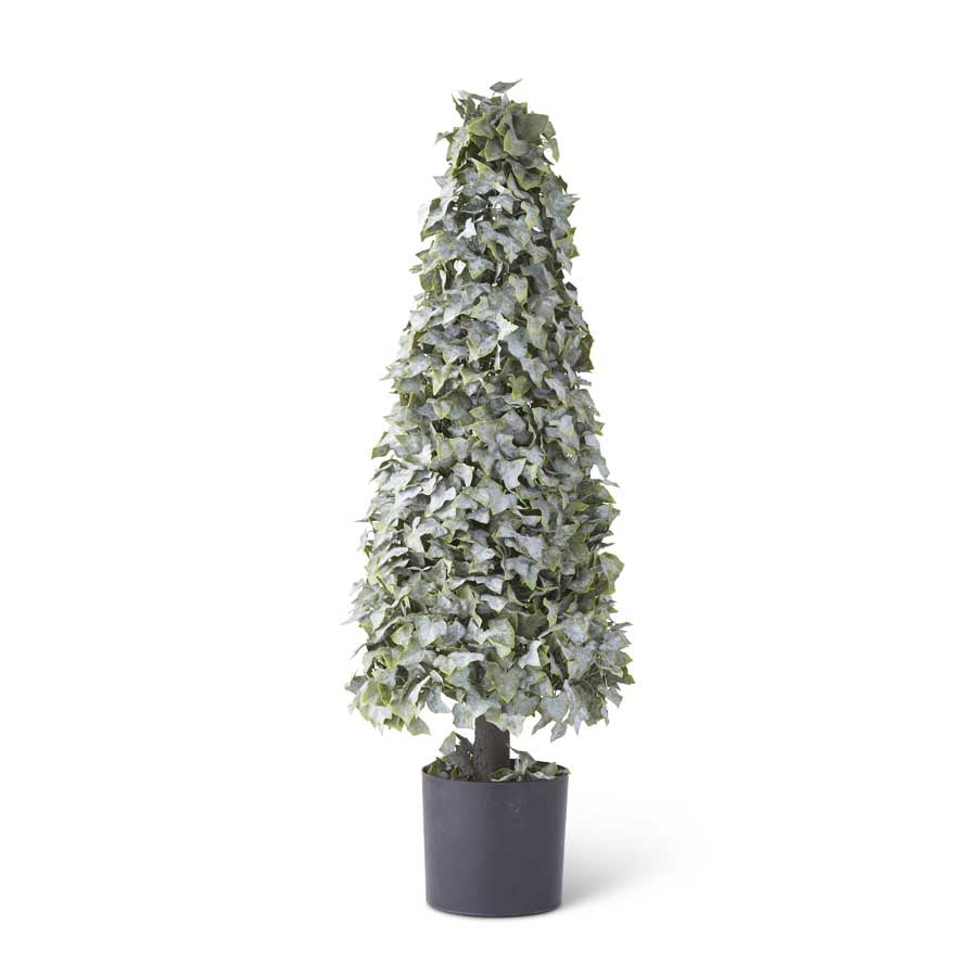 "K&K INTERIORS 37"" REAL TOUCH POWDERED ENGLISH IVY CONE TOPIARY"