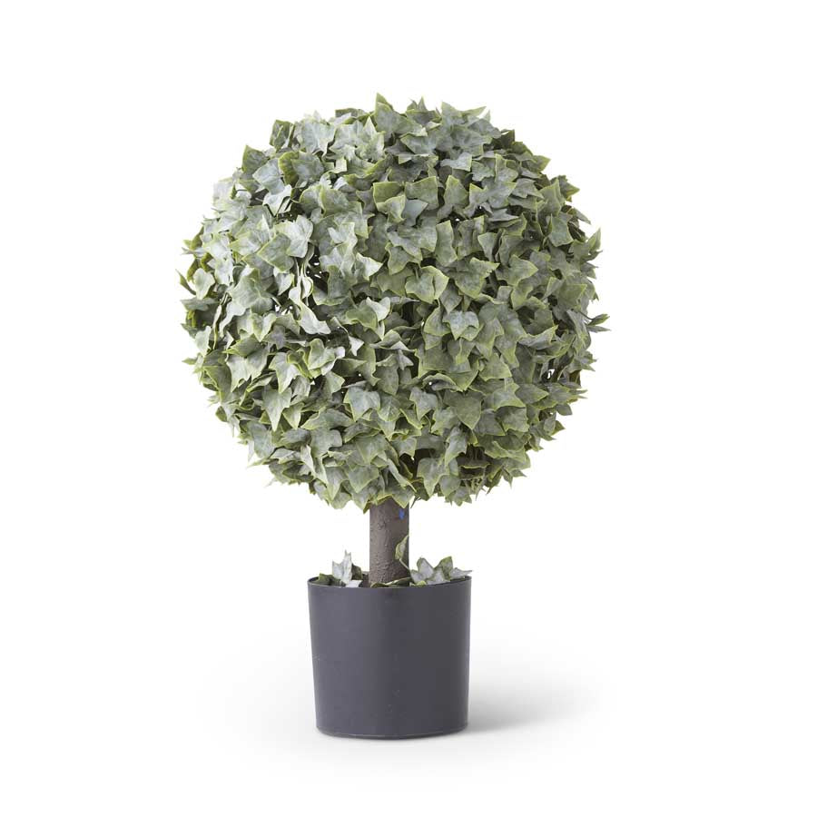 "K&K INTERIORS 25"" REAL TOUCH POWDERED ENGLISH IVY SINGLE BALL TOPIARY"