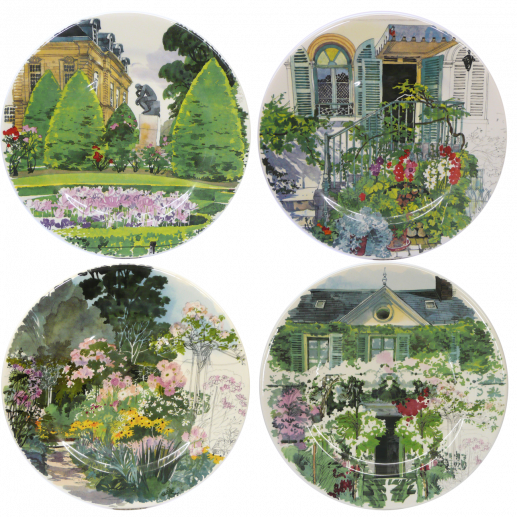 GIEN PARIS A' GIVERNY DESSERT PLATES, SET OF 4
