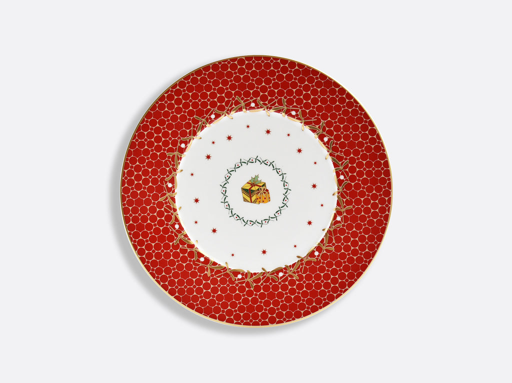 BERNARDAUD NOEL RED SALAD PLATE WITH RED GIFT