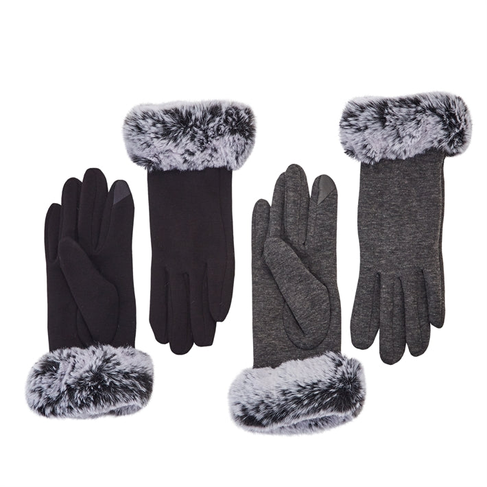 TWO'S COMPANY FAUX FUR TRIMMED GLOVE, ASST.