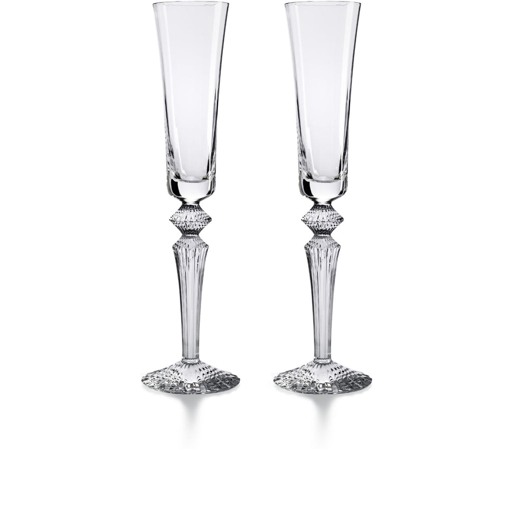 BACCARAT MILLE NUITS FLUTISSIMO CLEAR FLUTES, SET OF 2