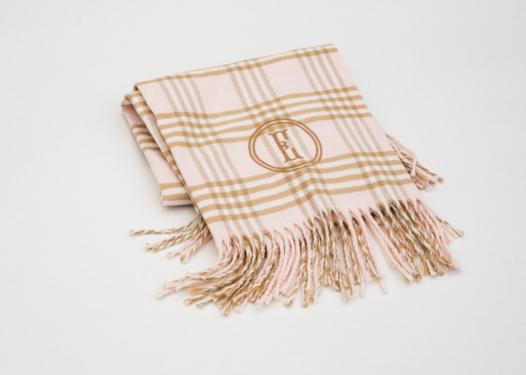 A SOFT IDEA PINK/CAMEL PLAID RECEIVING BLANKET